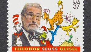 Briefmarke mit Dr. Seuss und seinen Charakteren