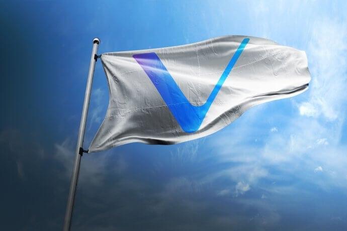 Weiße Flagge mit VeChain (VET) Flagge