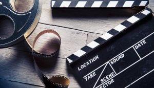 Filmrolle auf Holzboden