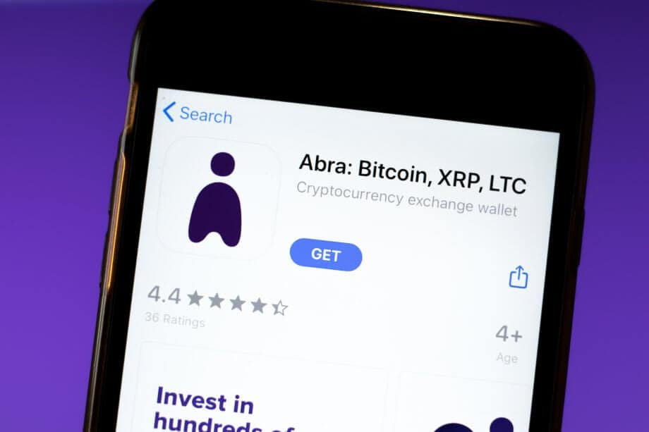 Abra Bitcoin app mobile logo close-up on screen display