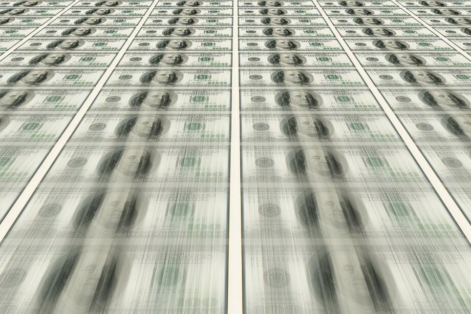 US-Dollar im Gelddrucker (Bitcoin)