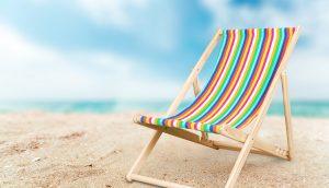 Liegestuhl am Strand.