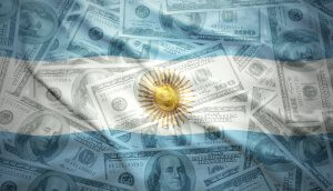 colorful waving argentinean flag on a american dollar money background