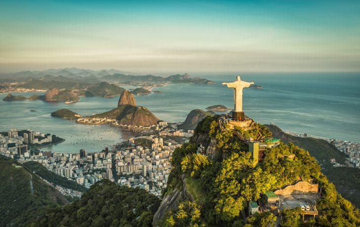 Aerial panorama of Christ and Sugar Loaf Mountain, Rio De Janeiro, Brazil.