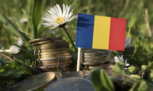 Romanian flag with stack of money coins with grass and flowers