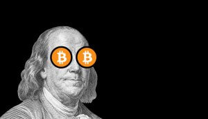 benjamin franklin with bitcoin eyes; cryptocurrency and traditional money
