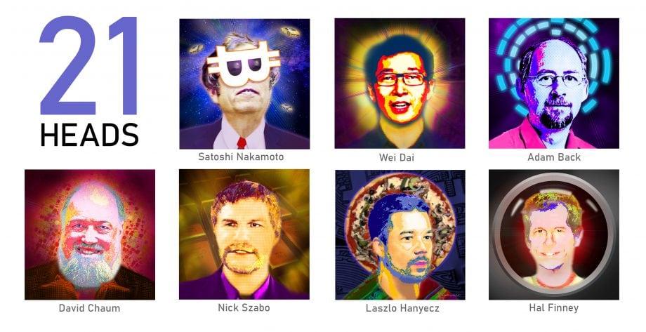 21 Portraits von bekannten Krypto-Köpfen als Kunst