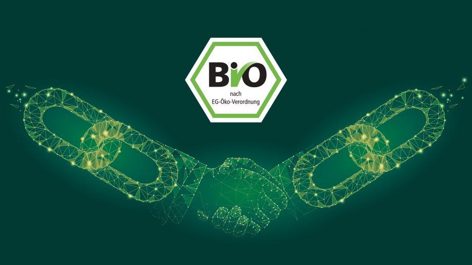 Die Grafik zeigt ein BIO-Gütesiegel über einem Handschlag zweier Hände, die zu einer Blockchain stilisiert sind.