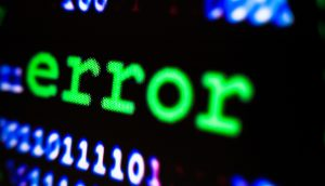 Error-Meldung auf einem Bildschirm