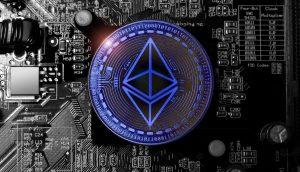 Ethereum Logo auf einem Rechenchip
