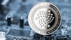 IOTA-Münze auf einem Computerchip