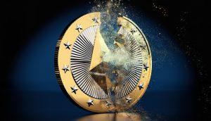 Zebrochene Ethereum-Münze