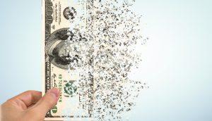 Grafik einer sich auflösenden 100-US-Dollarnote
