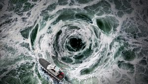 Ein Boot versucht einem Strudel zu entkommen