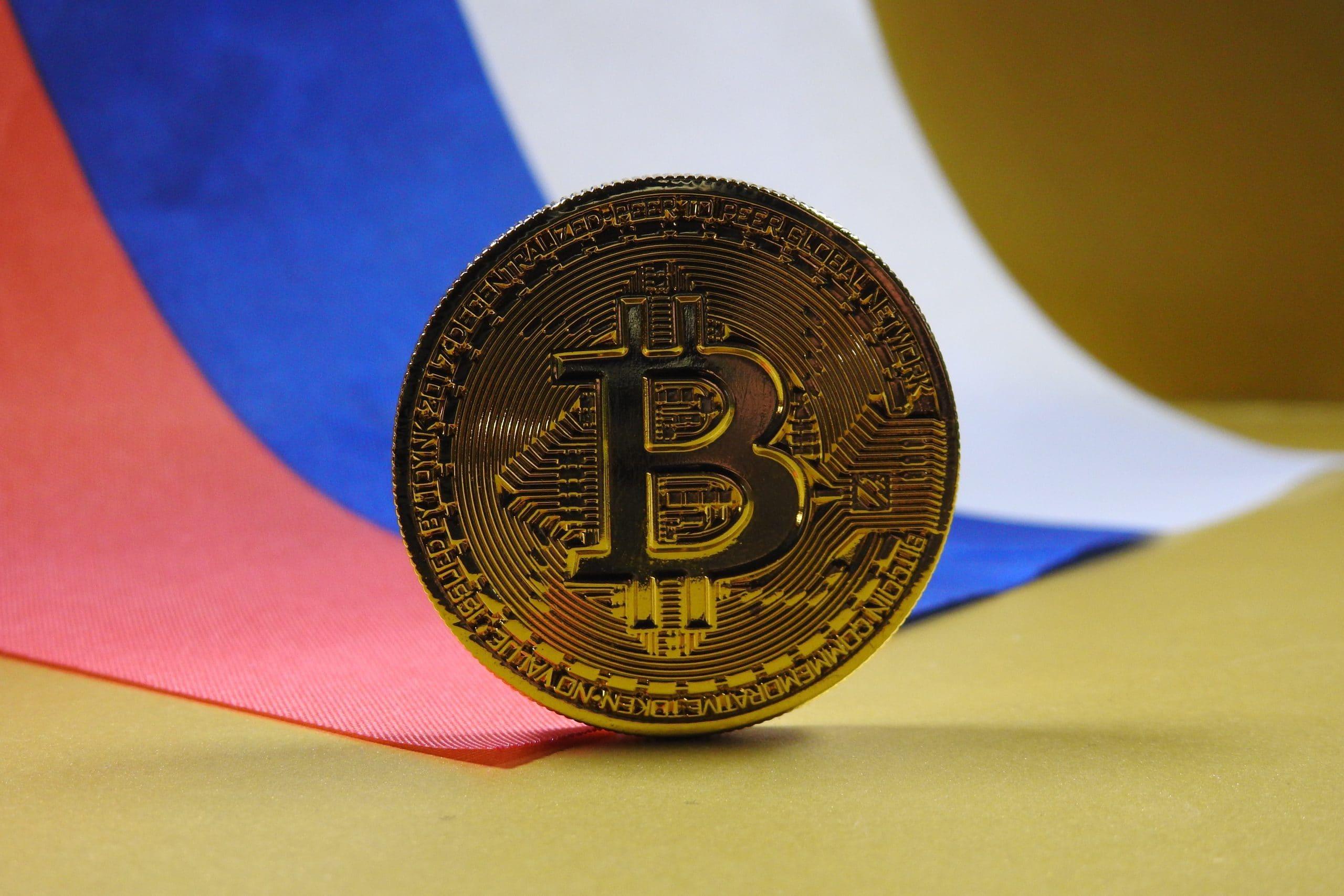 Bitcoin auf russischem Hintergrund
