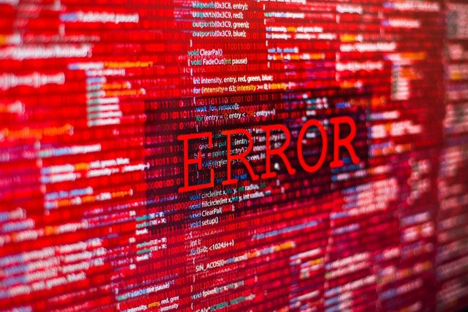 Fehler in der Programmcode-Auflistung, roter Absturz auf dem Software-Entwicklerbildschirm