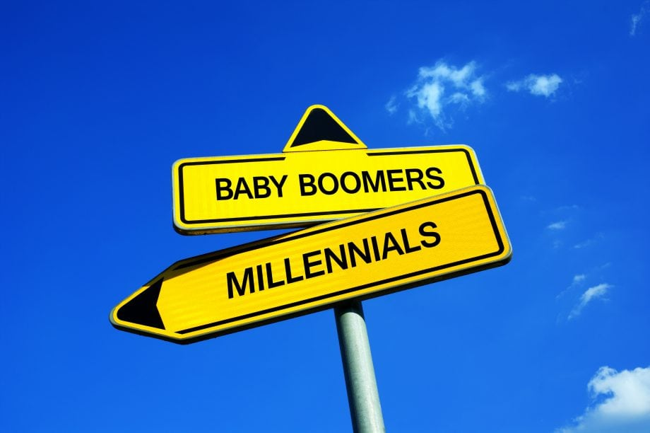 Schilder mit der Aufschrift Baby Boomers resp. Milleninals