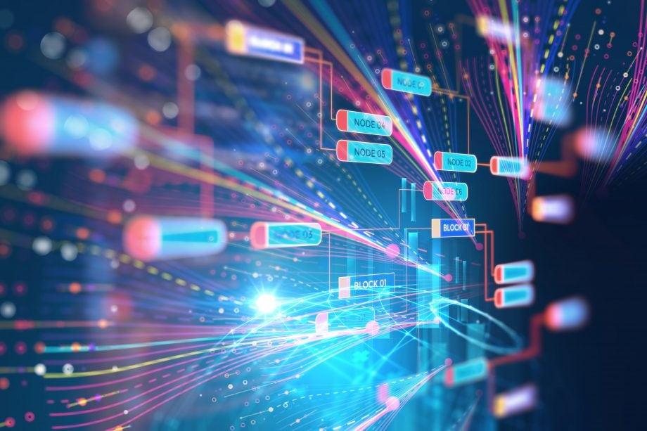 Abstrakte Futuristische Infografik mit Visual-Datenkomplexität , repräsentieren Big Data-Konzept, Knotenbasisprogrammierung