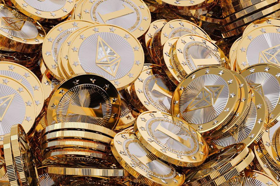 Ethereum - Virtual Money - Kryptowährung - 3D-Rendering