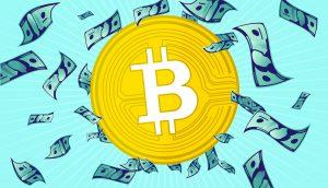 Bitcoin Coin mit Dollar Noten
