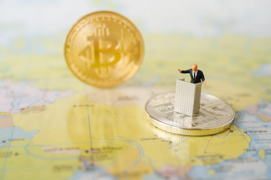 Weltkarte und Bitcoin
