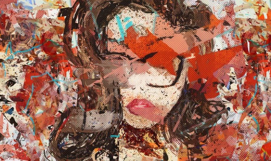 Digitales Bild auf roter Leinwand