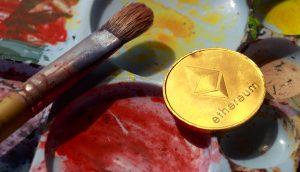 Eine Ethereum Münze auf einer Palette mit Farben