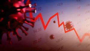 Grafik mit Corona-Virus-Illustration und fallendem Börsen-Chart