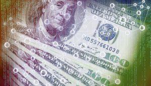 Grafik mit Dollarnoten und Netzwerk-Illustration