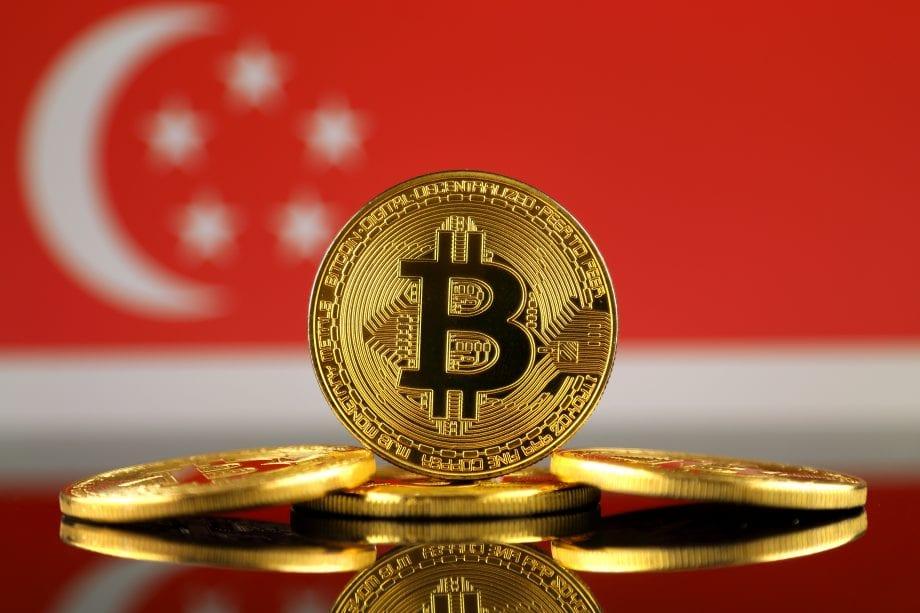 Bitcoin-Münzen vor SIngapur-Flagge