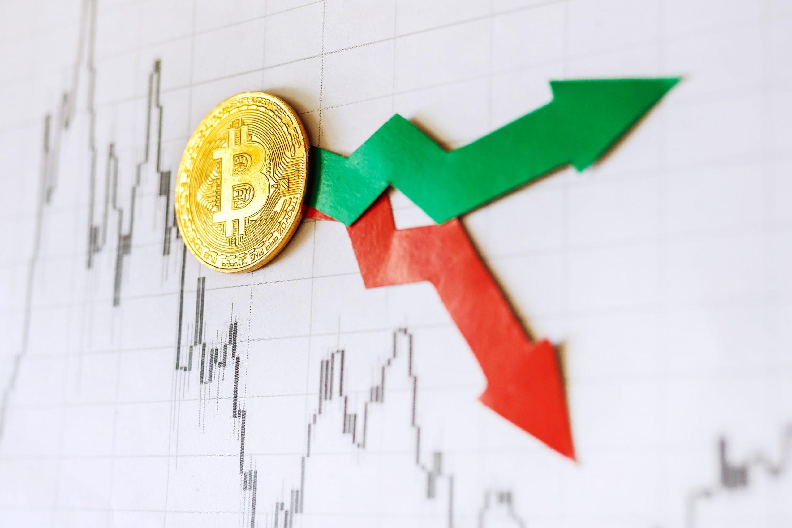 Bitcoin Münze auf einem Chart