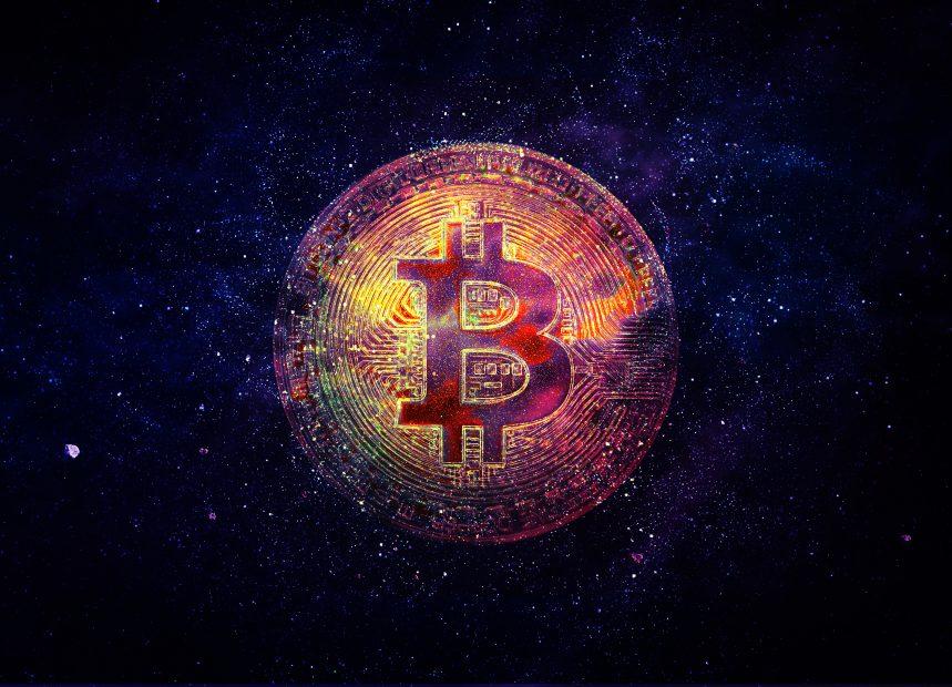 Bitcoin-Münze im Weltall
