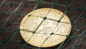 Bitcoin-Münze hinter einem Netz