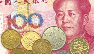 Chinesische Banknoten und Münzen