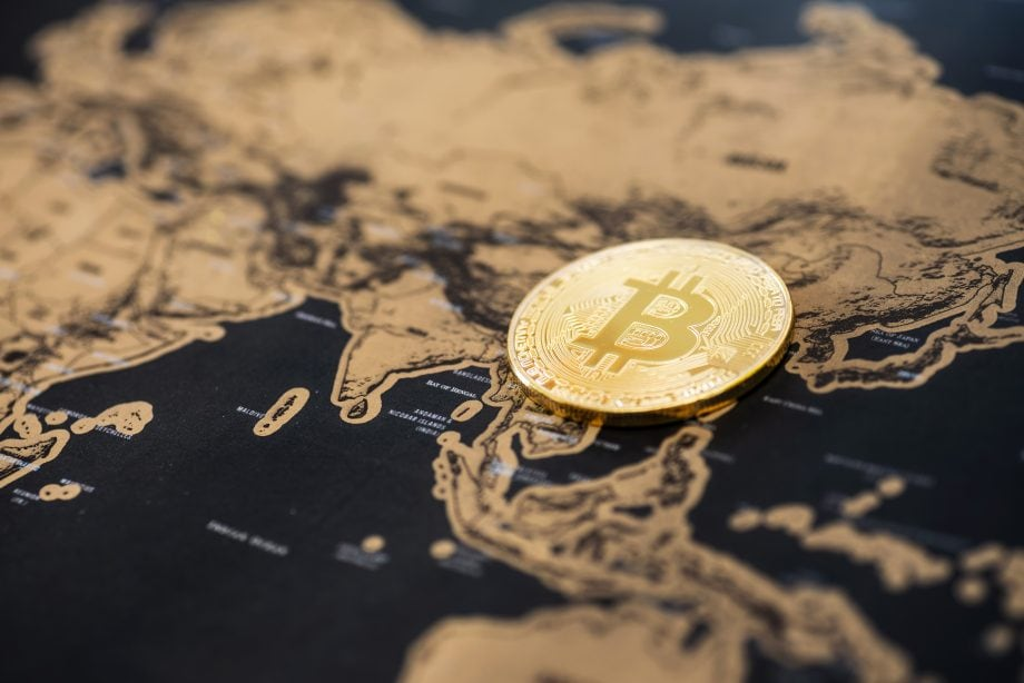 Bitcoin liegt auf einer Asienkarte