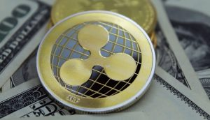 Ripple-Münze auf dem Greenback