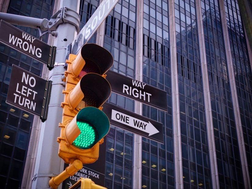 Grüne Ampel an der Wall Street