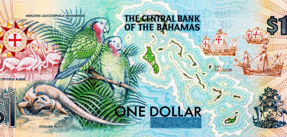 Eine (analoge) Bahamas-Dollar-Note