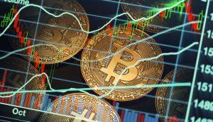 Illustration mit Bitcoin-Münzen und -Kursverlauf