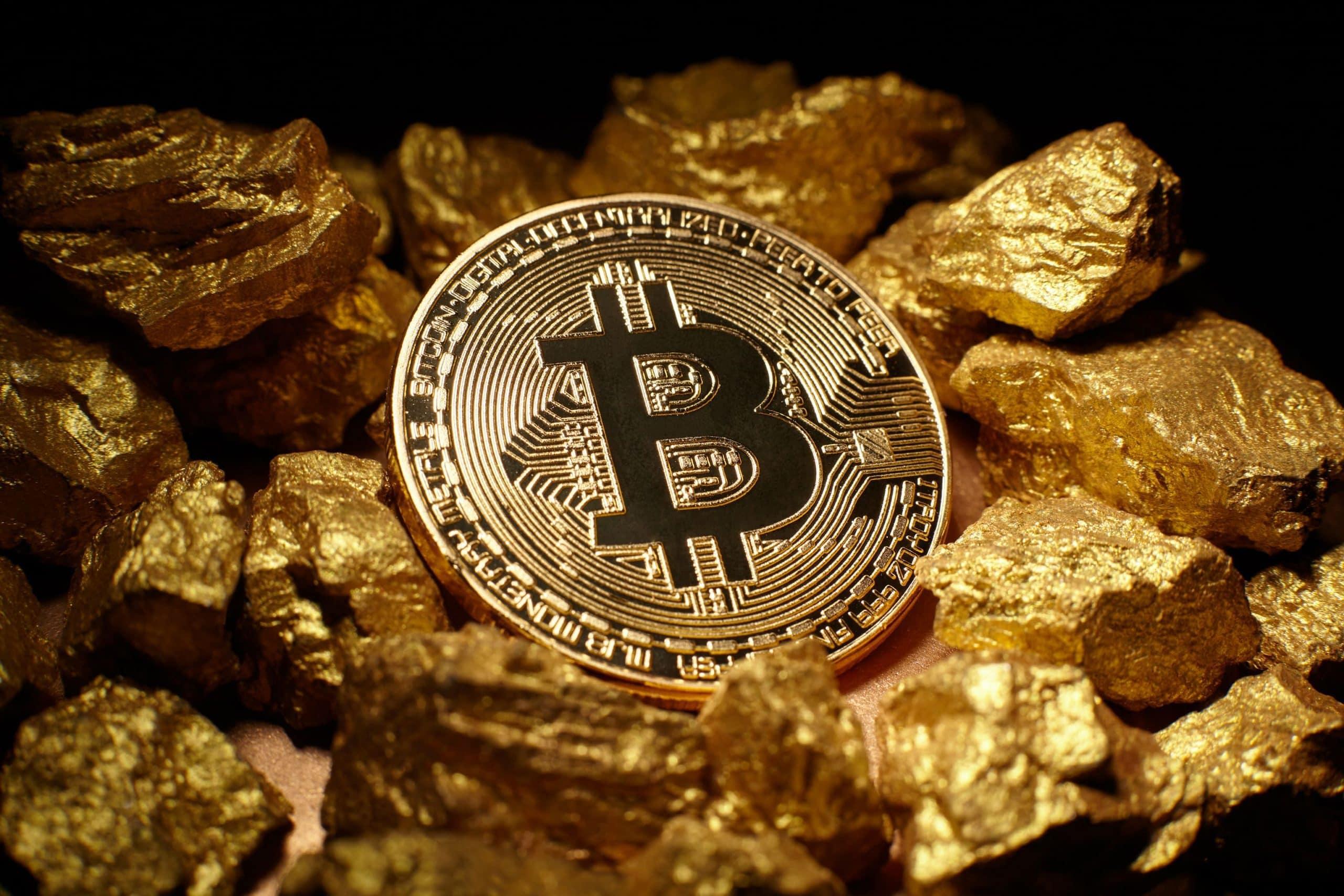 Bitcoin und Gold Nuggets