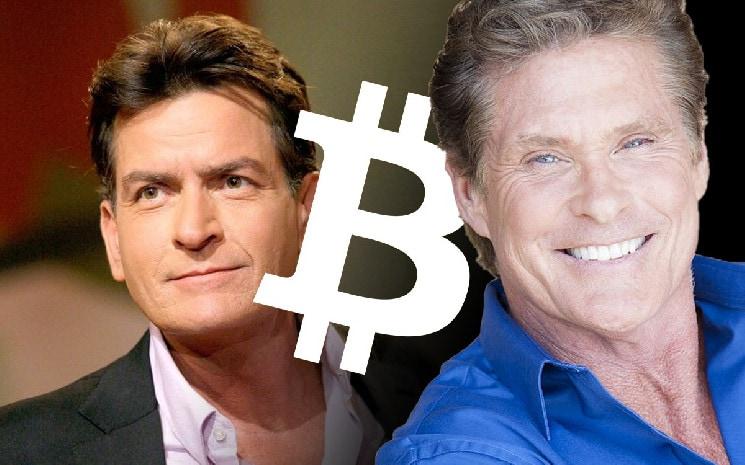 Charlie Sheen und David Hasselhoff neben Bitcoin-Logo