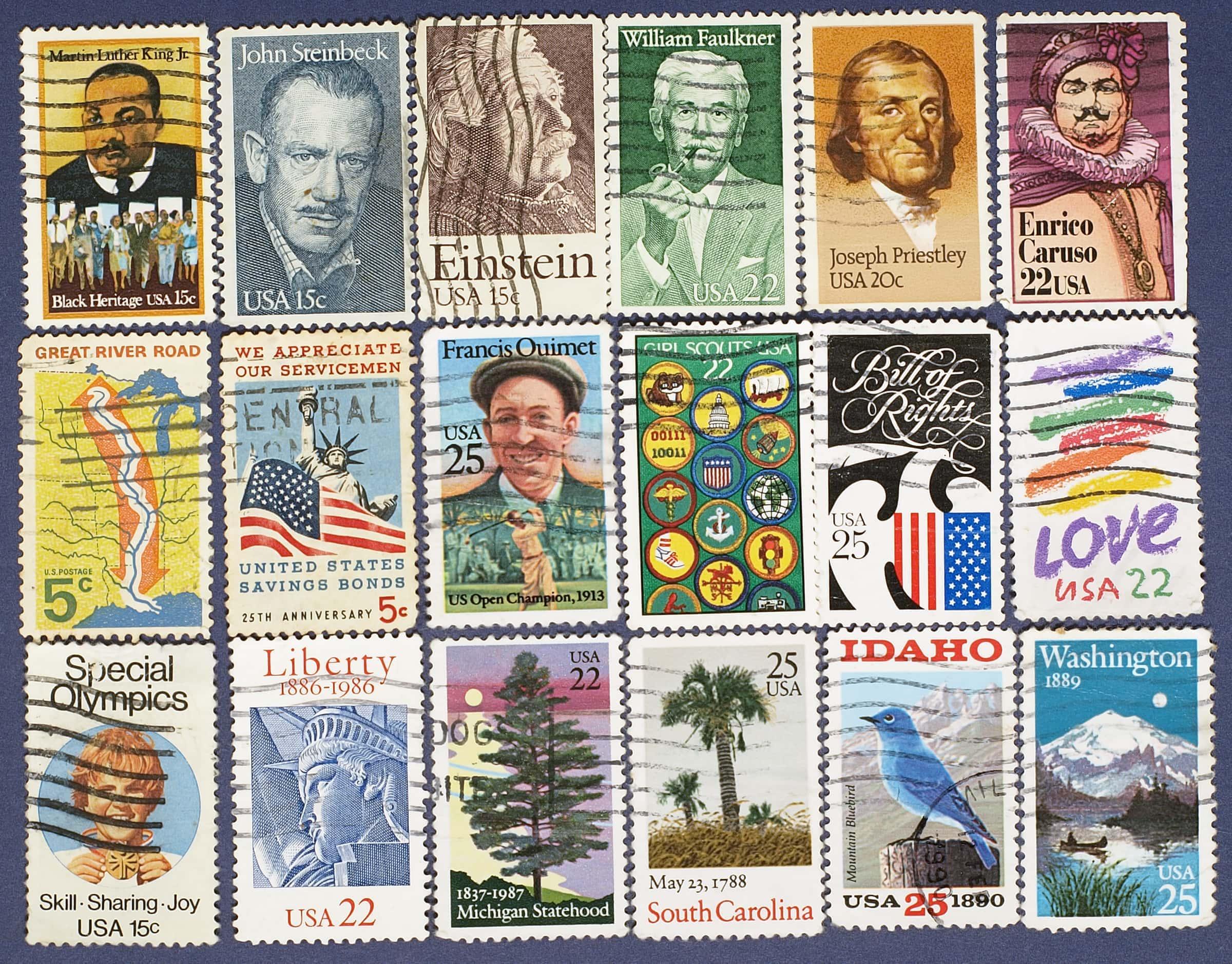 18 Briefmarken, Symboldbild für Sammelgegenstände