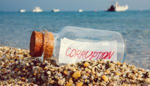 """Eine Flaschenpost mit der Botschaft """"Korruption"""
