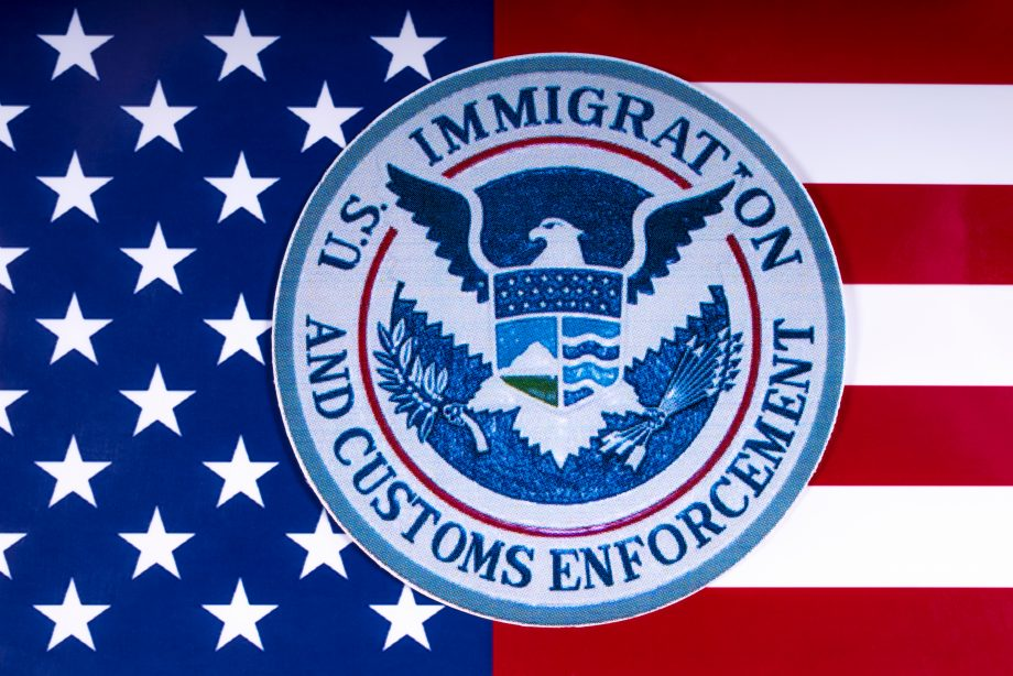 ICE-Logo auf US-amerikanischer Flagge