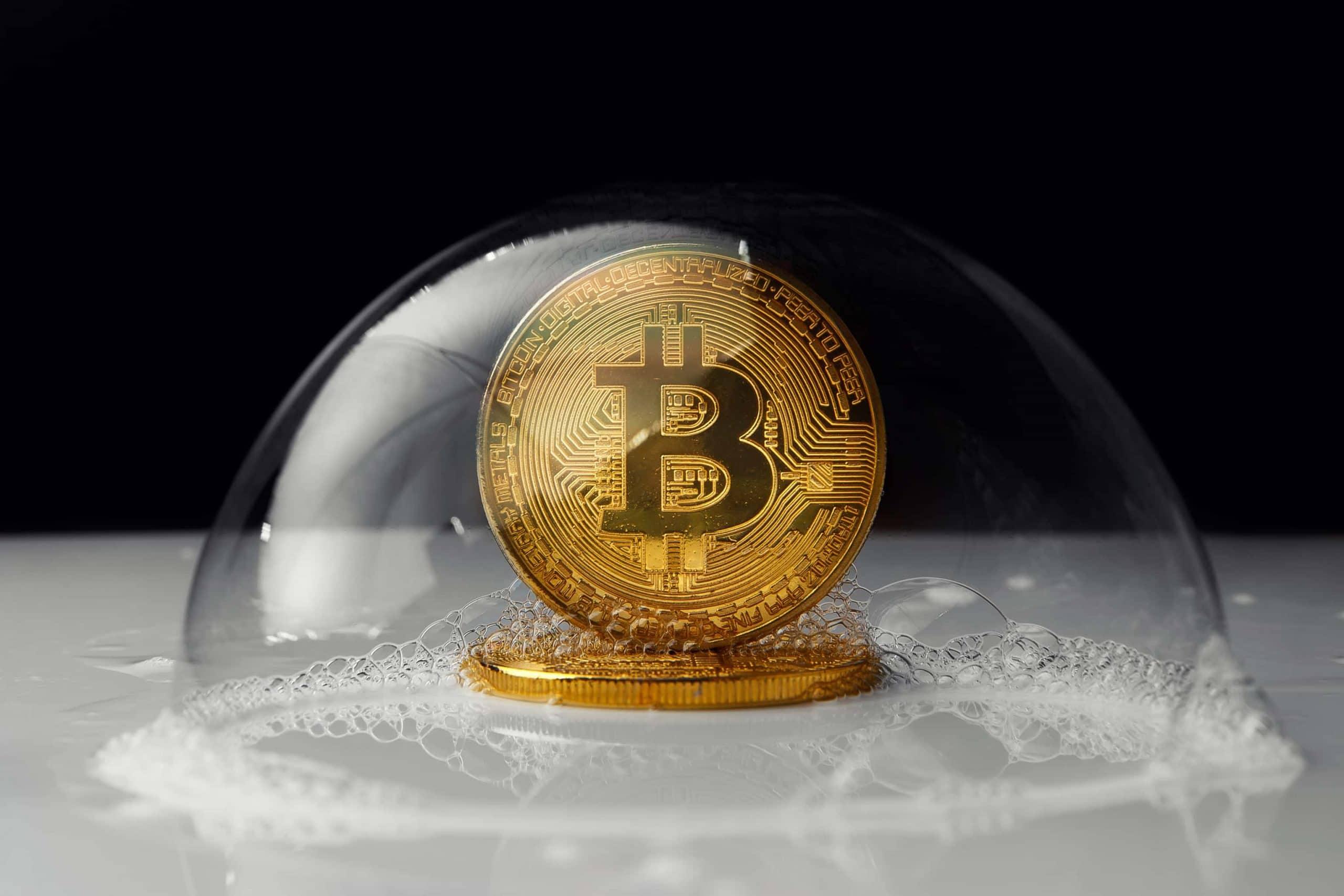 Bitcoin-Münze in einer Blase