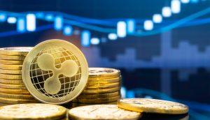 XRP-Münze vor einem Chart