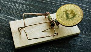 Eine Mausefalle mit Bitcoin-Köder