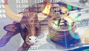 Bulle, US-Dollar-Noten und Bitcoin