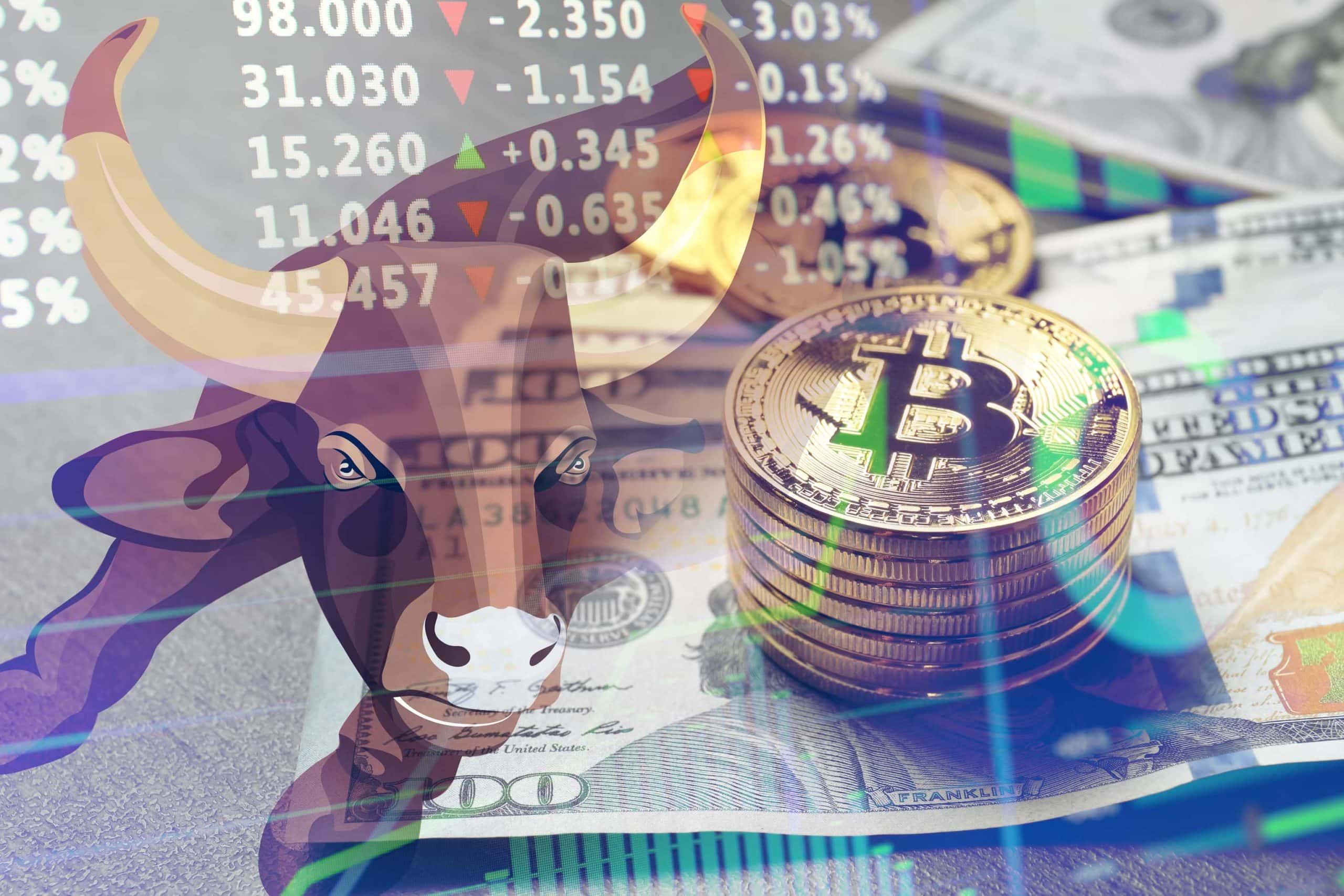 Bulle, US-Dollar-Noten und Bitcoin