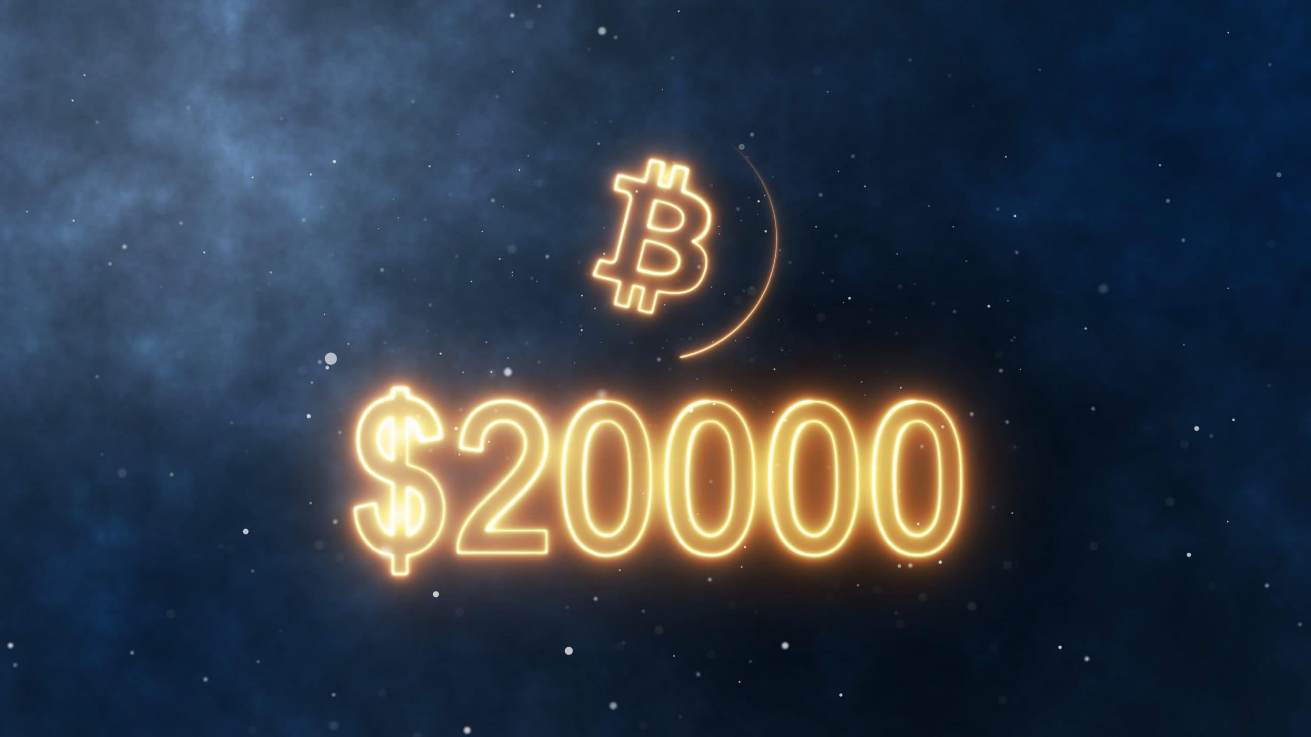 Bitcoin-Symbol, darunter der Schriftzug 20.000 US-Dollar